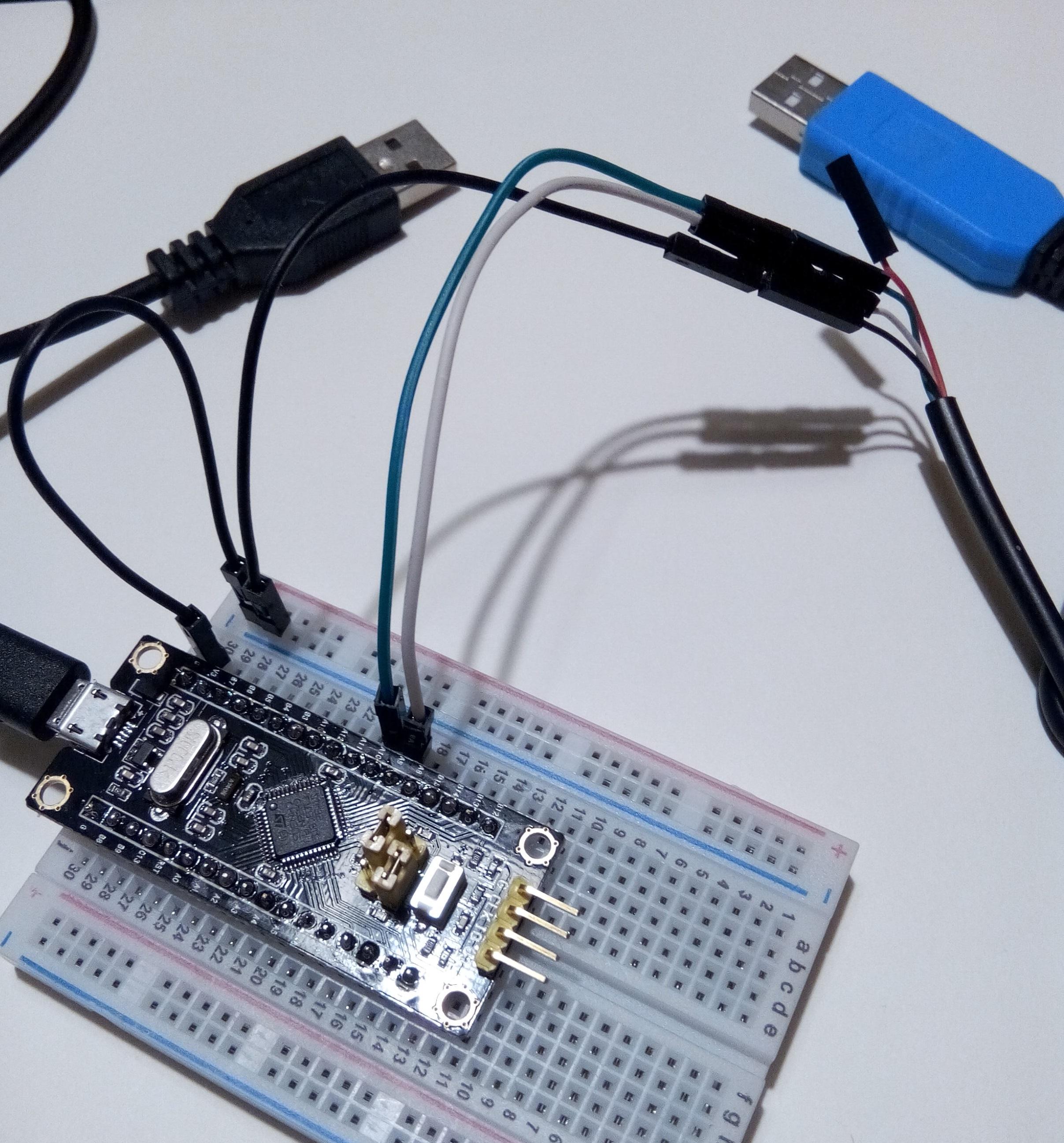 Schwarz: USB für 5V --> 3.3V am Chip. Blau: USB-ser für RX/TX.